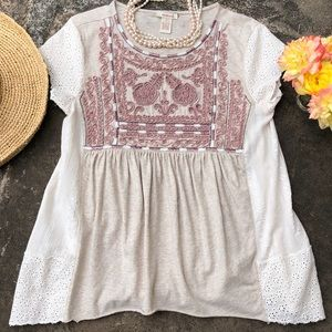 🌺 Sundance; Decorative Cotton Cream/Rose Top Sz S